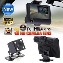 On sale 4″ Dual Lens FHD 1080P Car DVR Rearview Camera Dash Cam Car-styling Digital Video Recorder Auto Drive Dashcam Camcorder 3 Lens