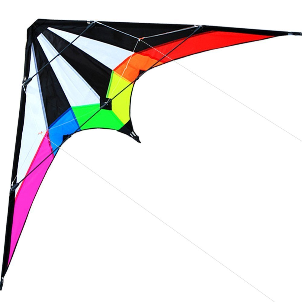 Outdoor Fun Sports NY 48/71 Inch Dual Line Stunt Kites / Rainbow Kite med håndtag og Line Good Flying