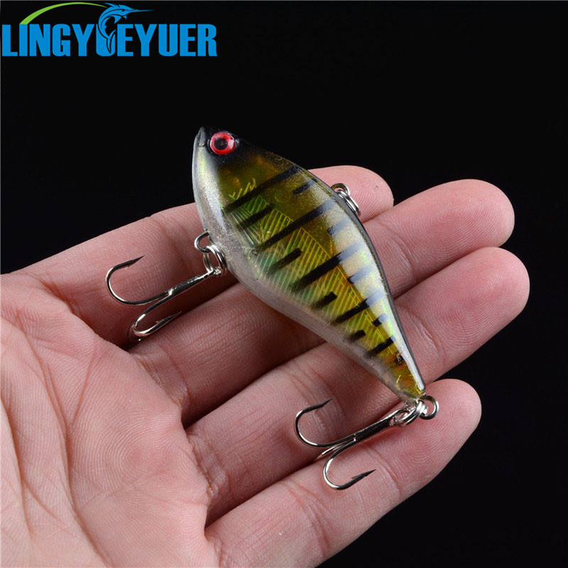 1PCS 2016 New Arrival Good Quality 6 Colors 6cm 13g Hard Bait VIB Fishing Lures Bass Fresh Salt Water With Two 6# Treble Hooks good hard