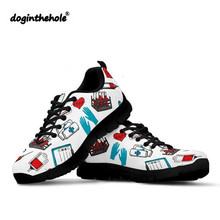 Doginthehole Phlebotomist Pattern Sneakers Nurse Shoes Women Mesh Breathable Female Outdoor Fitness Round Toe Walking
