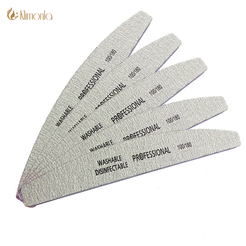 5Pcs/lot Professional Nail Files 100/180 Buffer Double Side Gray Color Curve Banana Nail Art Care Tools High Quality Necok