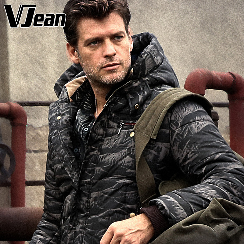 V JEAN Man's Camo-Print Quilted Winter Jacket with Hood #2B412