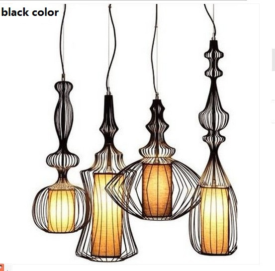 Whole Fashion Decoration Novelty Iron Metal Wire Cage E27 220v Pendant Lights Lamp Indoor