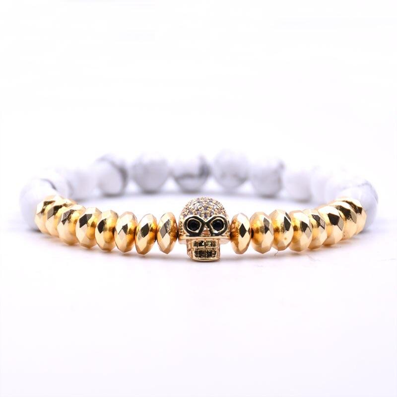 Kang hua 2019 Trendy 5 color 8mm Stone Bracelet Gold Hematite Pave CZ skull Bracelets Men Women charm Creative Jewelry Selling in Strand Bracelets from Jewelry Accessories