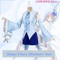 Anime! 2018 New Hot Game Shugo Chara Hinamori Amu Lovely Uniform Cosplay Costume Party Carnival Dress For Women Free Shipping
