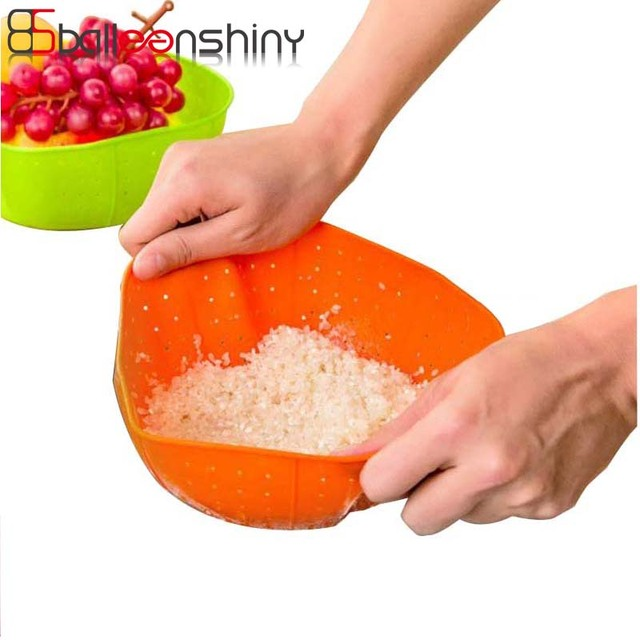 BalleenShiny Kitchen Basket Multifunction Silicone Drain Basket Colander  Rice Sink Accessories Washing Vegetables Fruit Baskets