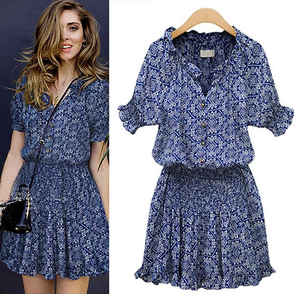 2015 New Style Women Summer Short Sleeve Print Casual V Neck Cotton
