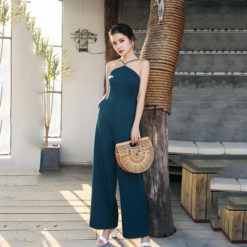 Womens Summer Solid Halter High Waist No Shoulder Jumpsuits 2018 New Arrival Elegant Loose Wide Leg Jumpsuits Hot Sales S85802F