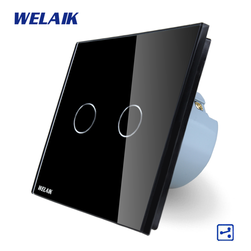 WELAIK Crystal Glass Panel Switch black Wall Switch EU Touch Switch Screen Wall Light Switch 2gang2way AC110~250V A1922CB welaik crystal glass panel switch white wall switch eu remote control touch switch light switch 1gang2way ac110 250v a1914w b