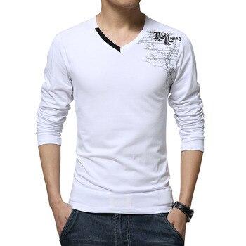 3f9aec4b3be Camisetas de manga larga para hombre nueva moda 2019 estampado primavera  ropa de marca Casual ajustado cuello en V algodón T camiseta Homme  camisetas M-5XL