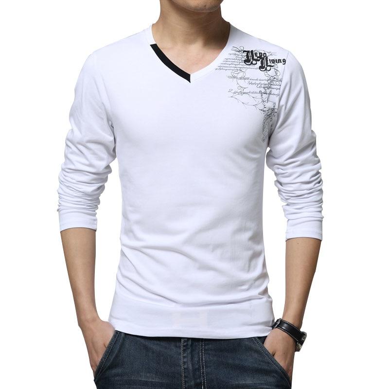 Camisetas de manga larga Nueva moda 2019 Estampado de primavera Ropa de marca para hombre Casual con cuello en v camiseta de algodón Homme Tees M-5XL