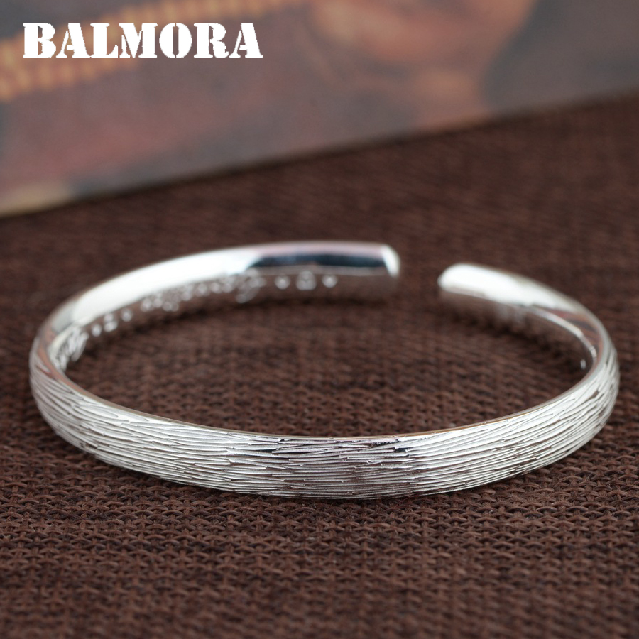 BALMORA Real 990 Pure Silver Open Bangles for Women Men Gift Classic Fashion Silver Jewelry About 16cm Bracelet Pulsera SZ0399BALMORA Real 990 Pure Silver Open Bangles for Women Men Gift Classic Fashion Silver Jewelry About 16cm Bracelet Pulsera SZ0399