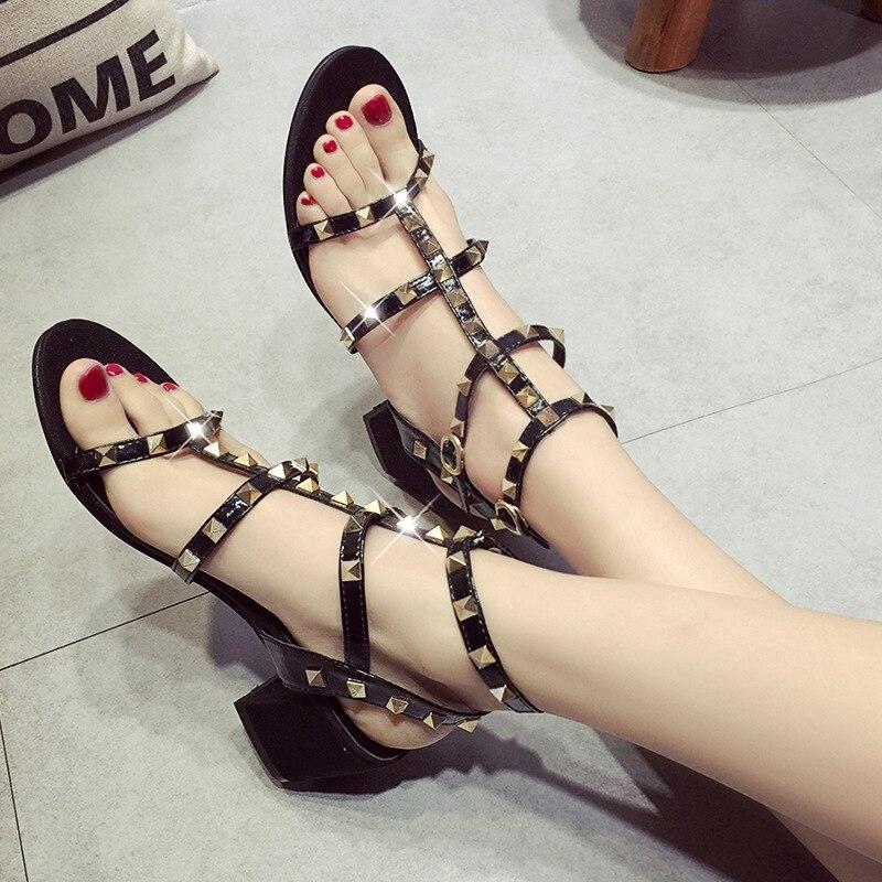 ФОТО AVVVXBW 2017 Summer Women's Sandals High Heels Sandals Peep-toe Rivet Metal Roman Women's Shoes Gladiator Sandalias Femininas