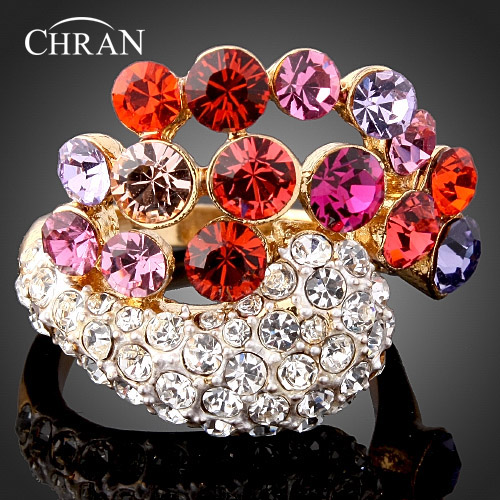 Chran Bohemian Punk Gothic Ring Women Colorful Stone Crystal Rings Hollow Flower Accessories Vintage Jewelry