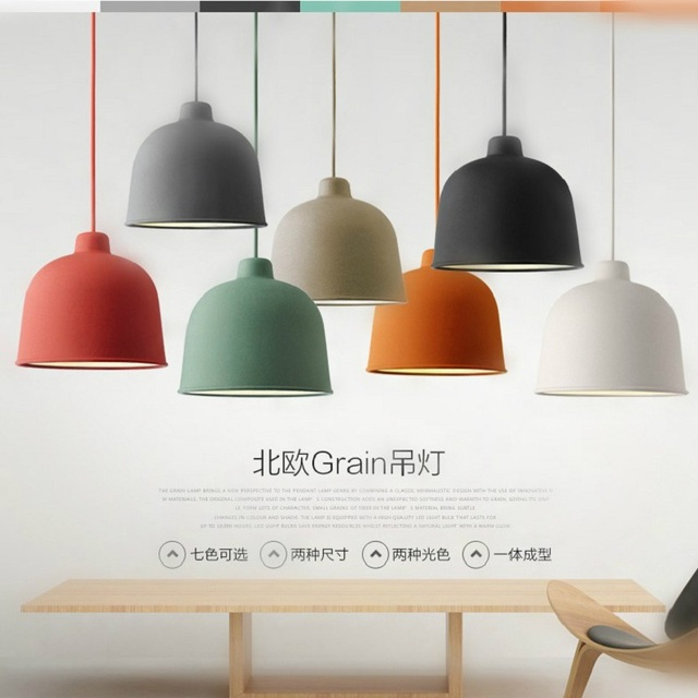 Bell Pendant Lamp Iron Suspension Light Macaron Color Lighting Green Blue  Yellow Gray Dinning Room Restaurant