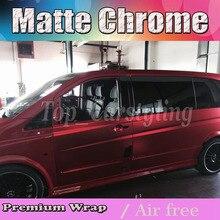 Luxo Bronze Red Satin Chrome Envoltório de Vinil Carro Embrulhar em Película Para styling Veículo Com Ar Rlease matt Folha de cromo 1.52×20 m/Roll