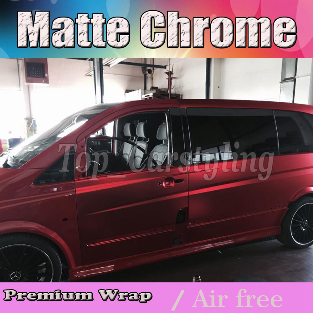 Luxury Bronze Red Satin Chrome Vinyl Wrap Car Wrapping Film For Vehicle styling With Air Rlease matt chrome Foil 1.52x20m/Roll