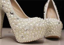 White High Heel Bridal Dress Shoes Imitation Pearl Shoes Lady Popular Formal Shoes Free Shipping Wedding Shoes