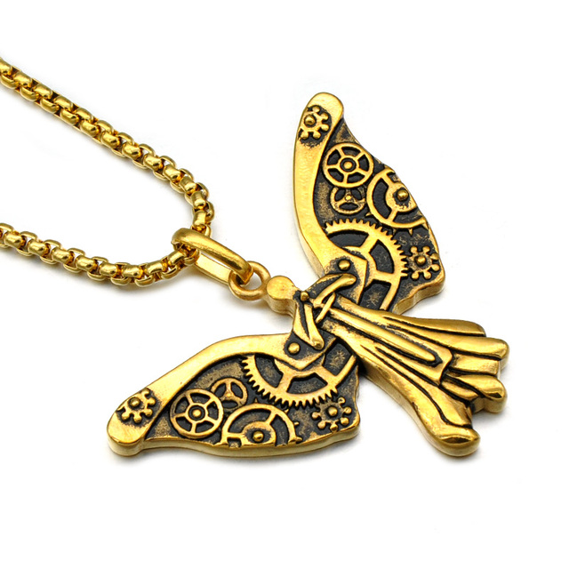 Hip punk vintage mechanical angel pendants necklaces cool titanium hip punk vintage mechanical angel pendants necklaces cool titanium stainless steel chain fly fairy necklace for aloadofball Gallery