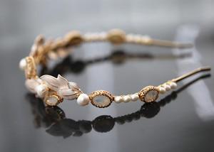 Image 2 - ヴィンテージ淡水真珠金箔オパールウェディングヘアバンドヘッドバンドティアラブライダルヘッドピースヘアアクセサリー女性ジュエリー