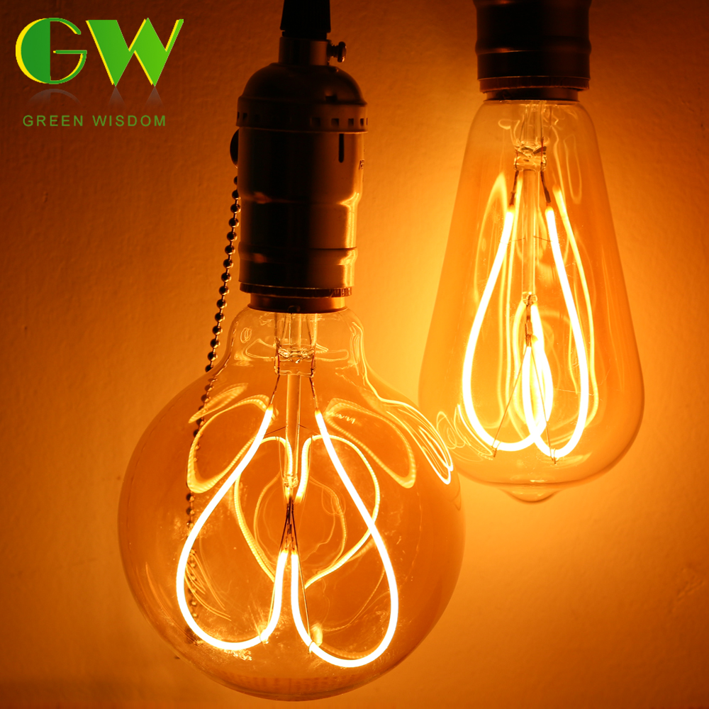 E27 Edison LED Filament Bulb Retro Led Lamp Light 4W T45 ST64 T60 G80 G95 G125 220V Fireworks Light Bulb Indoor Outdoor Decor
