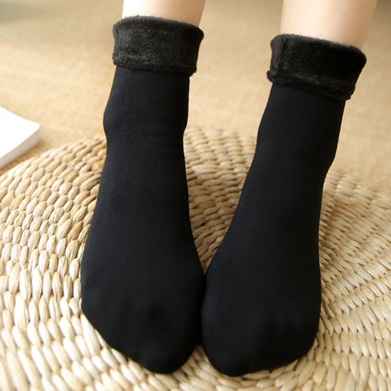 2 Pair Women Man Warm Fleece Socks Winter Snow Soft Thick Lining Ankle Sock Casual Velvet Solid Color Winter Socks