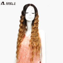 Middle Part Front Lace 30 Inch Deep Wave Ombre Lace Wig Wavy Blonde Synthetic Women Hair Wigs Noble Natural Looking(China)