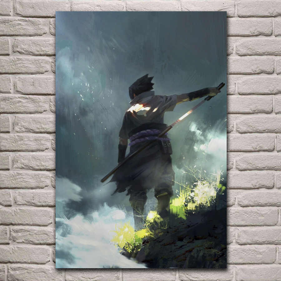 Cool Naruto anime fantasy Sasuke Uchiha living room home wall art decor wood frame fabric poster KE596