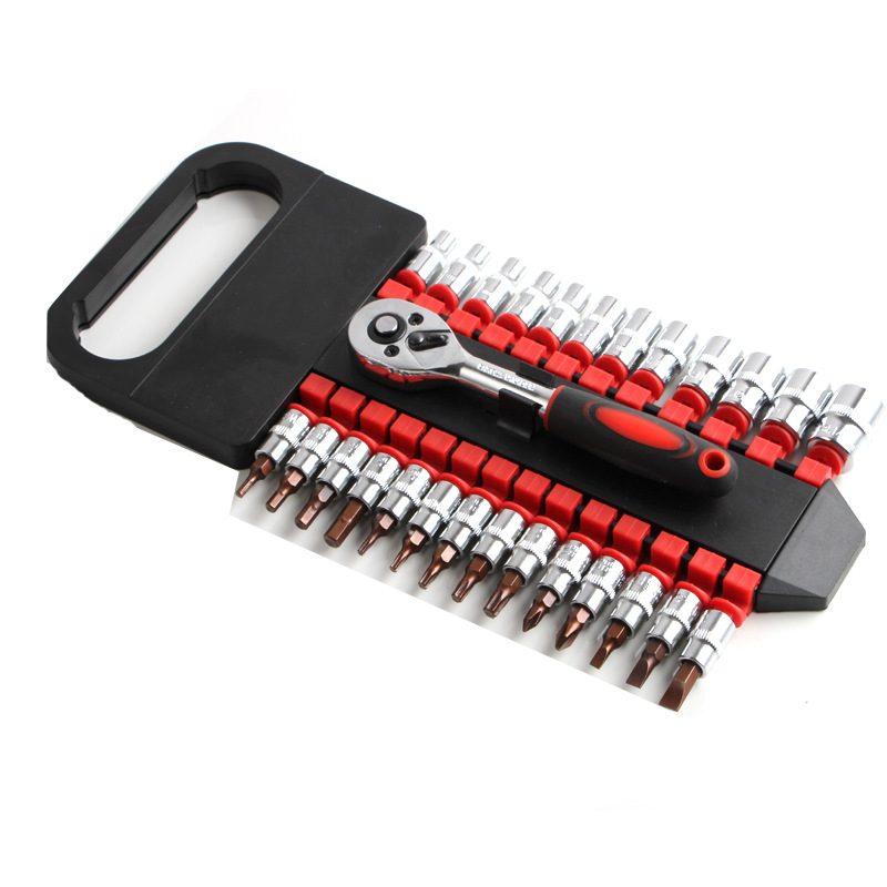 27pcs Ratchet Handle Wrench Spanner Socket Set 1/4 Car Repair Tool Socket Ratchet Wrench Screw Set Hand Combination Tool xilko handle wrenches 6pcs set ratchet handle wrench fixed head ratcheting combination spanner wrench sets hand tools ratchet