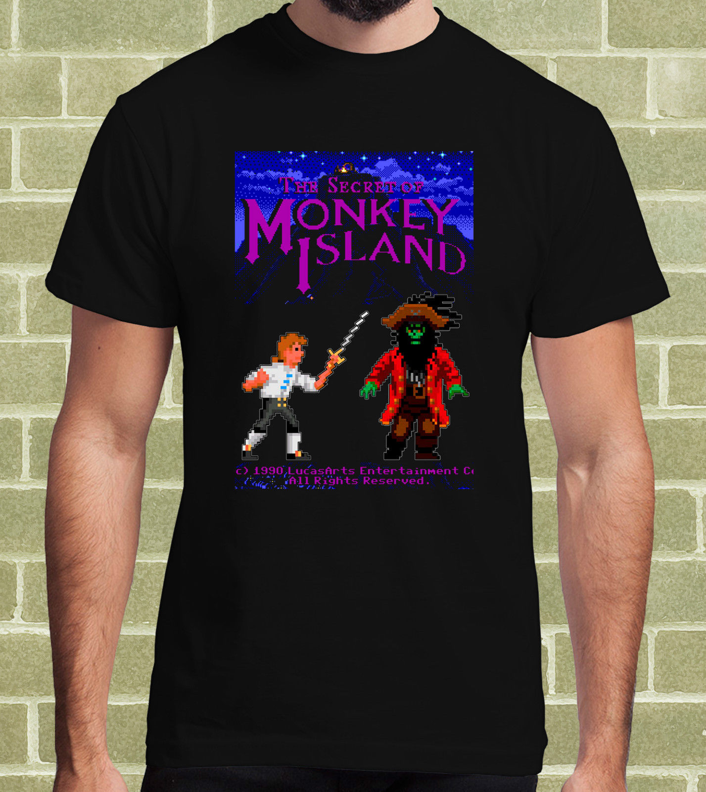 gildan-monkey-island-fontbvideogame-b-font-arcade-1990-t-shirt-per-uomo-e-bambino-mens-t-shirt