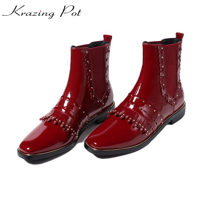Krazing Pot cow patent leather thick low heels streetwear fringe flowers boots rivets square toe Chelsea women Chelsea boots L39 krazing pot 2018 fashion full grain leather solid round toe rivets decoration thigh high boots streetwear riding knee boots l1f3