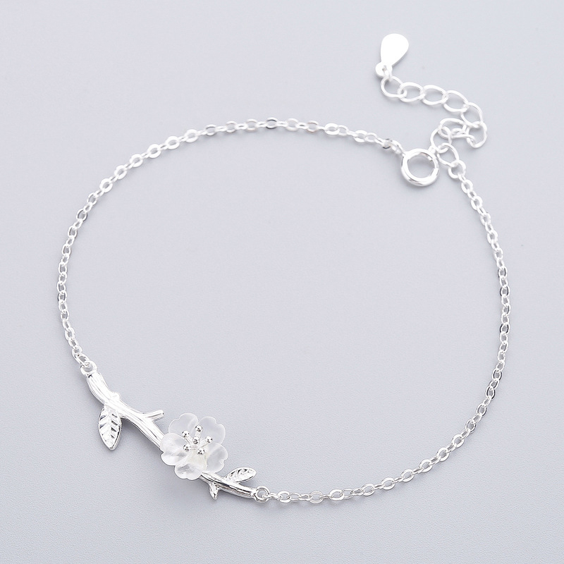 Fashion Real925 Sterling Silver Tree White Crystal Flower Bracelet For Women Birthday Gift Charm Silver 925 Fine Jewelry R12WFashion Real925 Sterling Silver Tree White Crystal Flower Bracelet For Women Birthday Gift Charm Silver 925 Fine Jewelry R12W