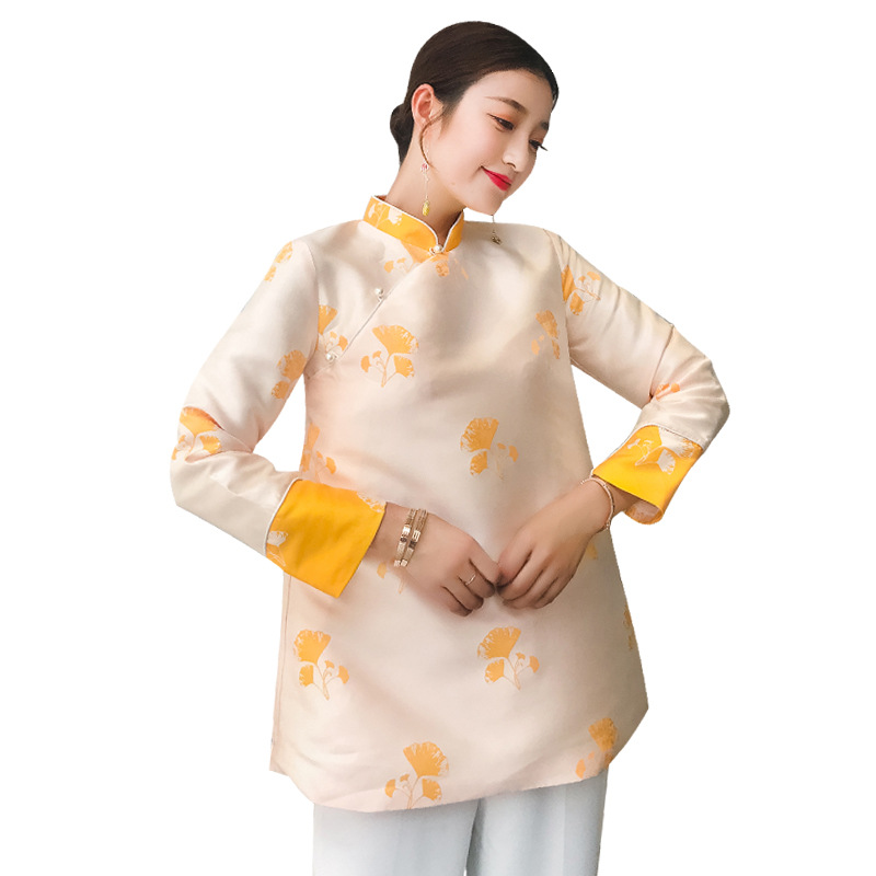 Improved Cheongsam Tops Women's Spring Autumn New High end Loose Long Sleeve Chinese Style Jacquard Coat