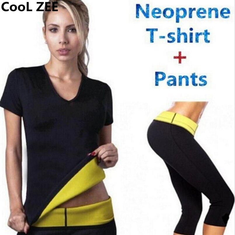 Прохладный ZEE горячей (брюки + футболка) супер управления формочек трусики шорты женщин растянуть неопрена рубашки пот похудения body shaper