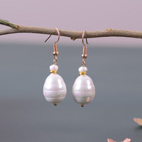 Eternal wedding Women 925 Sterling silver real pearl natural freshwater pearl earring Baroque personalized Pearl Ear