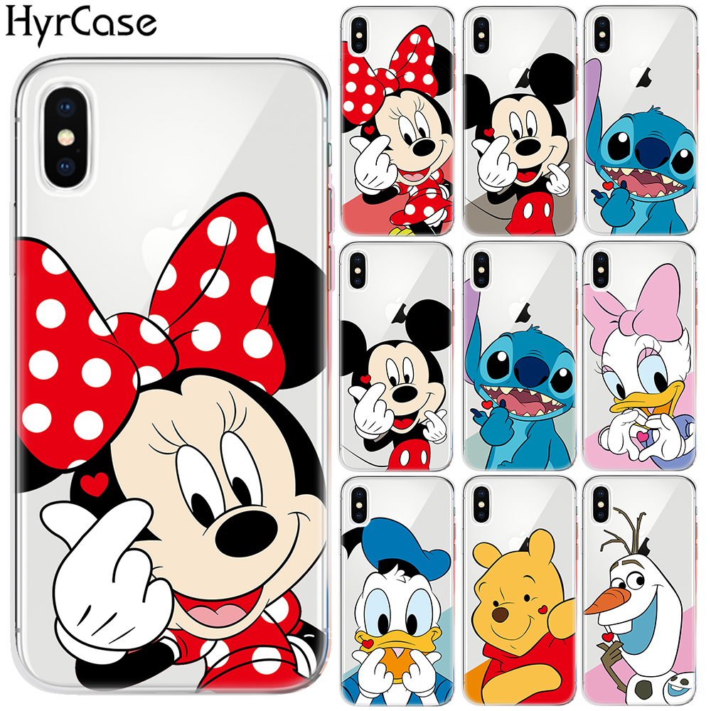 Cartoon Soft TPU Case For <font><b>Coque</b></font> <font><b>iPhone</b></font> XR XS 11 Pro Max X 5 5S SE 6 <font><b>6S</b></font> 7 8 Plus Stitch Finger Heart Cover For Capa <font><b>iPhone</b></font> 7 Plus image
