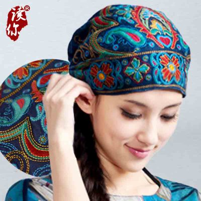 2019 Vintage Embroidery Flowers Mexican Style Spring And Autumn Ethnic  Bandanas Original Red Blue Print Boho Hat Free Shipping a3b44f13299