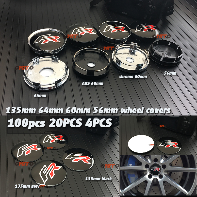 100 stücke 4 stücke 20x135mm 64mm 56mm 60mm FR Logo Auto Rad Hub-Center decals abzeichen emblem für Seat Leon FR rad mitte aufkleber