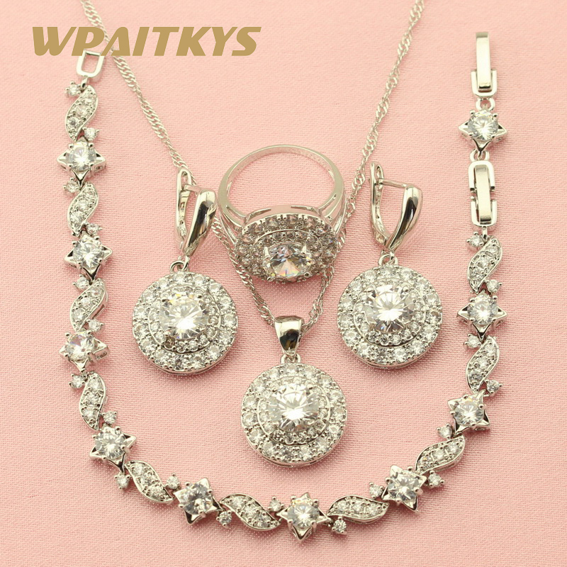 Exquisite White Cubic Zirconia 925 Silver Jewelry Sets For Women Party Earrings Chain Bracelet Necklace Pendant Ring Free Box wpaitkys trendy white opal 925 silver jewelry sets women s wedding necklace earrings ring bracelet free box