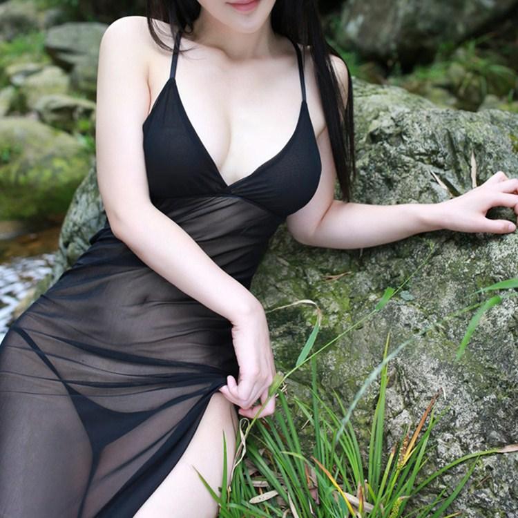 Free ShipSatin Nightgown Sleepwear Mesh V-Neck Sexy Women Summer<