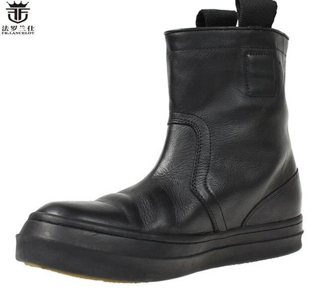 e82ff988 LANCELOT męska wysokiej góry czarne skórzane buty wysokiej góry mody buty  Chelsea mężczyźni trendu