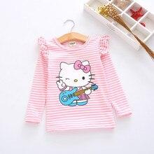 Новая весенне-Осенняя детская одежда футболка с длинными рукавами в виде листка лотоса Топы в полоску с рисунком «hello kitty» для маленьких девочек, размеры от 2 до 8 лет