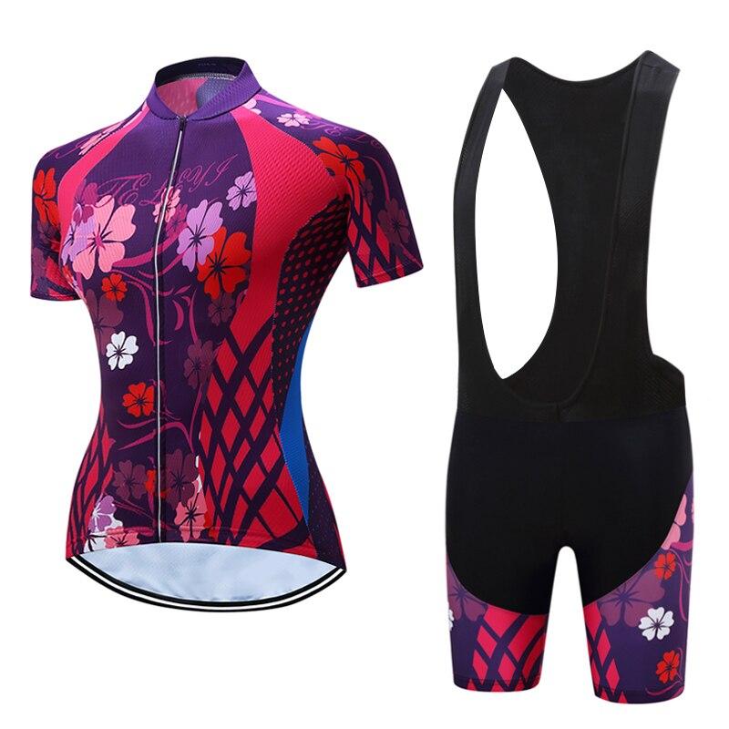 TELEYI Womens Cycling Shirts Bib Shorts Sets MTB Maillot Bike Clothing Kits Female Bicycle Jersey Suits Summer Riding Clothes