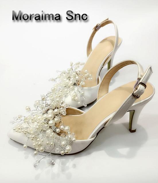 74a121bab06307 Moraima Snc brand white wedding Bridal shoes 7.5 cm Set of toes ladies  pumps Handmade pearls decor Satin high heels sandals 2018