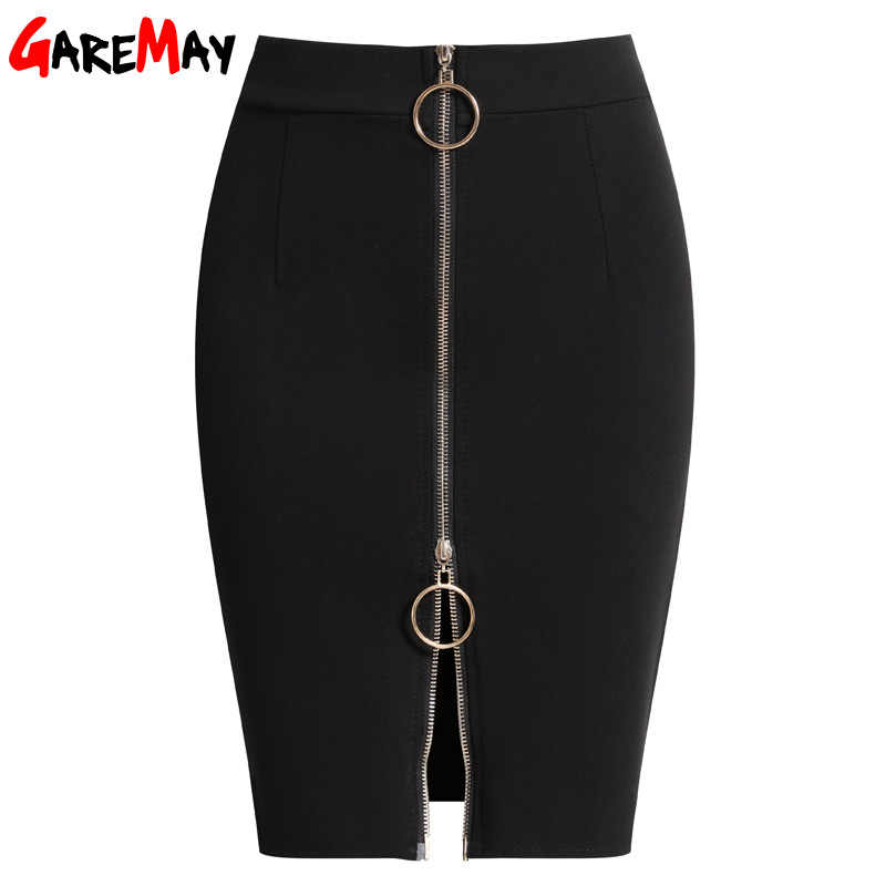 e09f9ae09b 2019 summer short Skirts black Womens Elastic High Waist Skirt Plus Size  Zipper Office Pencil Skirt