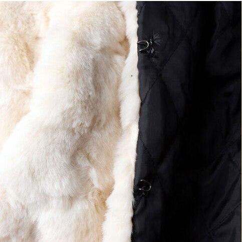 Perles S2581 Et Manteau Chaud Manteaux Fourrure Femmes Laine Belle Beige De Hiver Vestes L'europe Manches À Épais Nouvelle Marque Mode Patchwork Longues nHqqwSg106