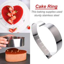 Stainless Steel Adjustable Retractable Heart Shaped Mousse Ring Baking Tools Cake Mould Circle Chocolate