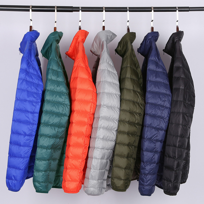 Ultralight Men's Solid White Duck   Down   Jackets Male Short Stand Man   Down     Coats   Garment Over size Hooded Outwear For Men Clothes
