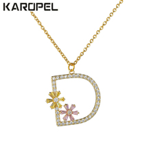 Multicolor Fashion Charm Golden Alphabet D Colorful Flower Necklace & Pendant micro pave zircon initial letter necklaces