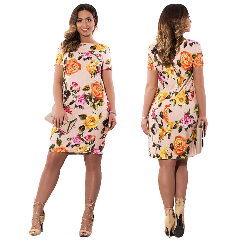 HTB1EnbSXg6DK1JjSZPhq6y8uVXan 2019 Autumn Plus Size Dress Europe Female Fashion Printing Large Sizes Pencil Midi Dress Women's Big Size Clothing 6XL Vestidos
